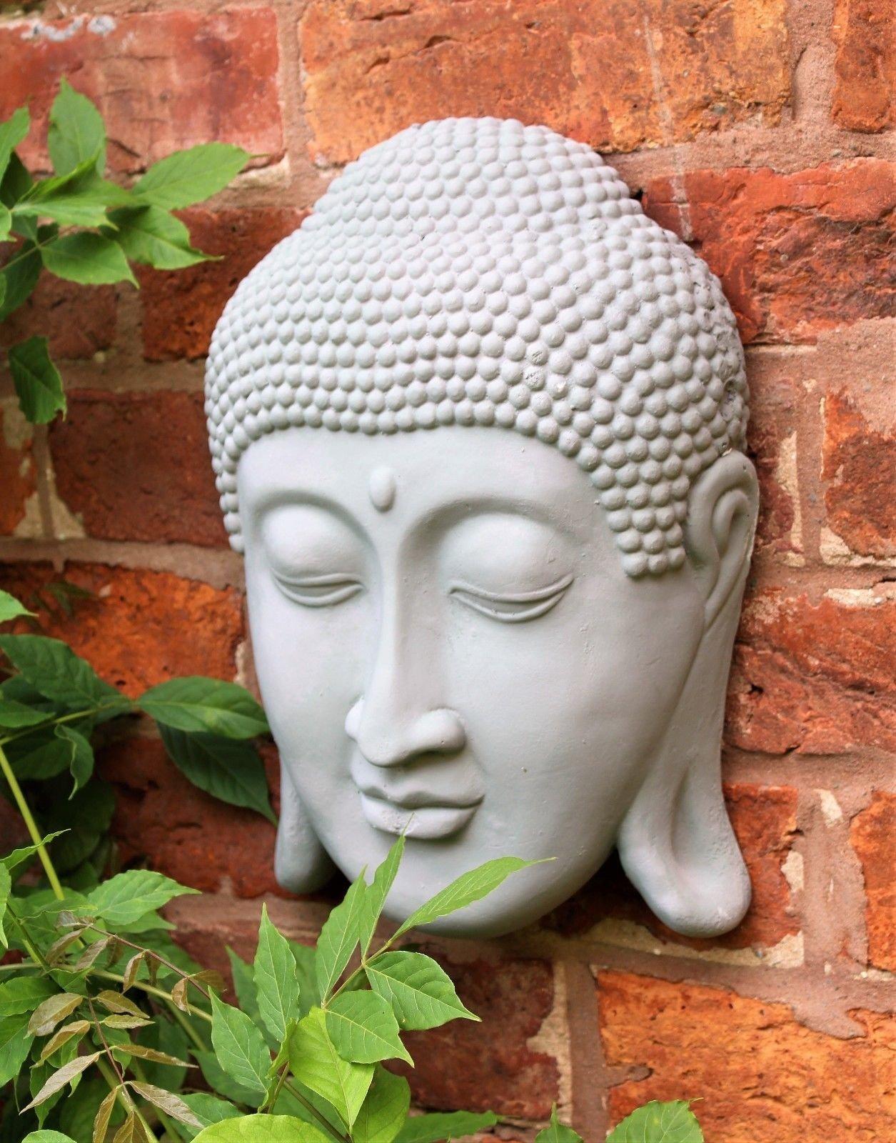 Cabeza de Buda colgante de pared Thai cara placa interior exterior 33 cm 13.