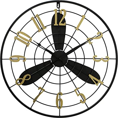 WHW Whole House Worlds Propeller Wall Clock, Analog, Quartz Movement, Black Metal and Gold Numerals, 1 AA Battery (Not Included)