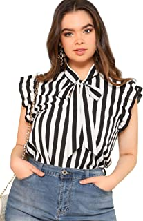 Women's Sleeveless Bow Tie Striped Summer Chiffon Blouse Top