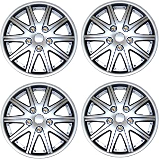 Tuningpros WC3-14-1027-S - Pack of 4 Hubcaps - 14-Inches Style 1027 Snap-On (Pop-On) Type Metallic Silver Wheel Covers Hub-caps