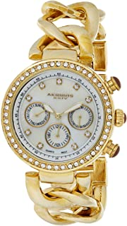 Akribos XXIV Women's Swiss Quartz Multifunction Date Crystal Watch - White Mother Of Pearl Dial - Luminius Hands - Gold Je...