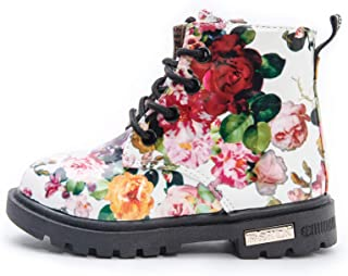 Comfy Kids Girls Casual Combat Shoes Ankle Boots Floral British Style Martin Boots Kids