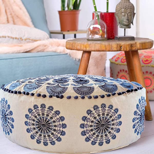 Mandala Life ART Bohemian Pouf Ottoman Cover Luxury Artisan Room D Cor Pouffe For Meditation Yoga And Boho Chic Seating Area Stool Floor Pillow Case Accent Your Living Room Bedroom