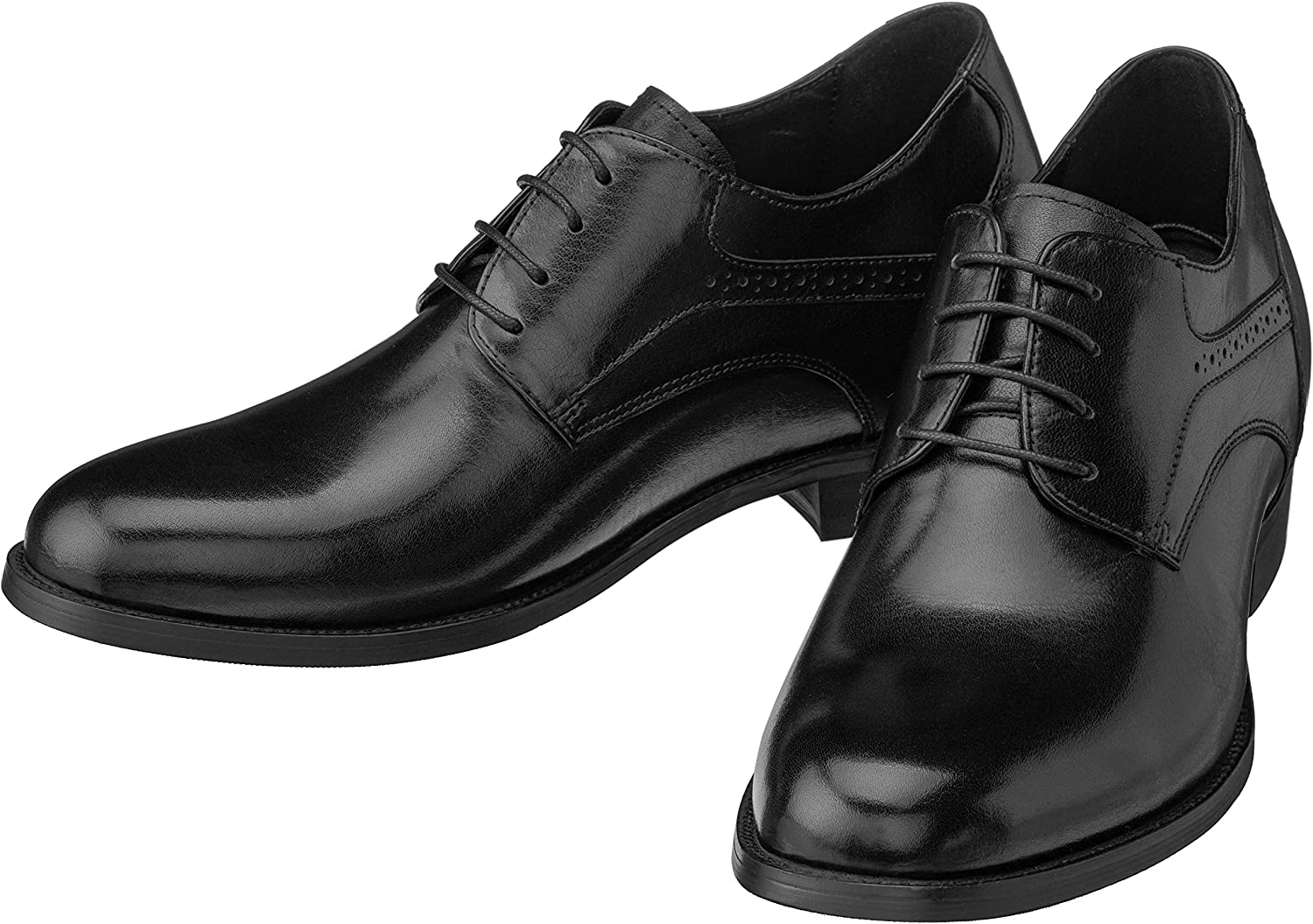 CALTO Men's Invisible Height Increasing Elevator Shoes - Premium Leather Lace-up Formal Derby Oxfords - 2.8 Inches Taller