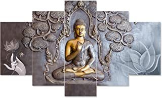 Saumic Craft Set Of 5 Gautam Buddha Wall Painting With Frame For Home Decoration , Living Room Office , Hotel With A Surpr...
