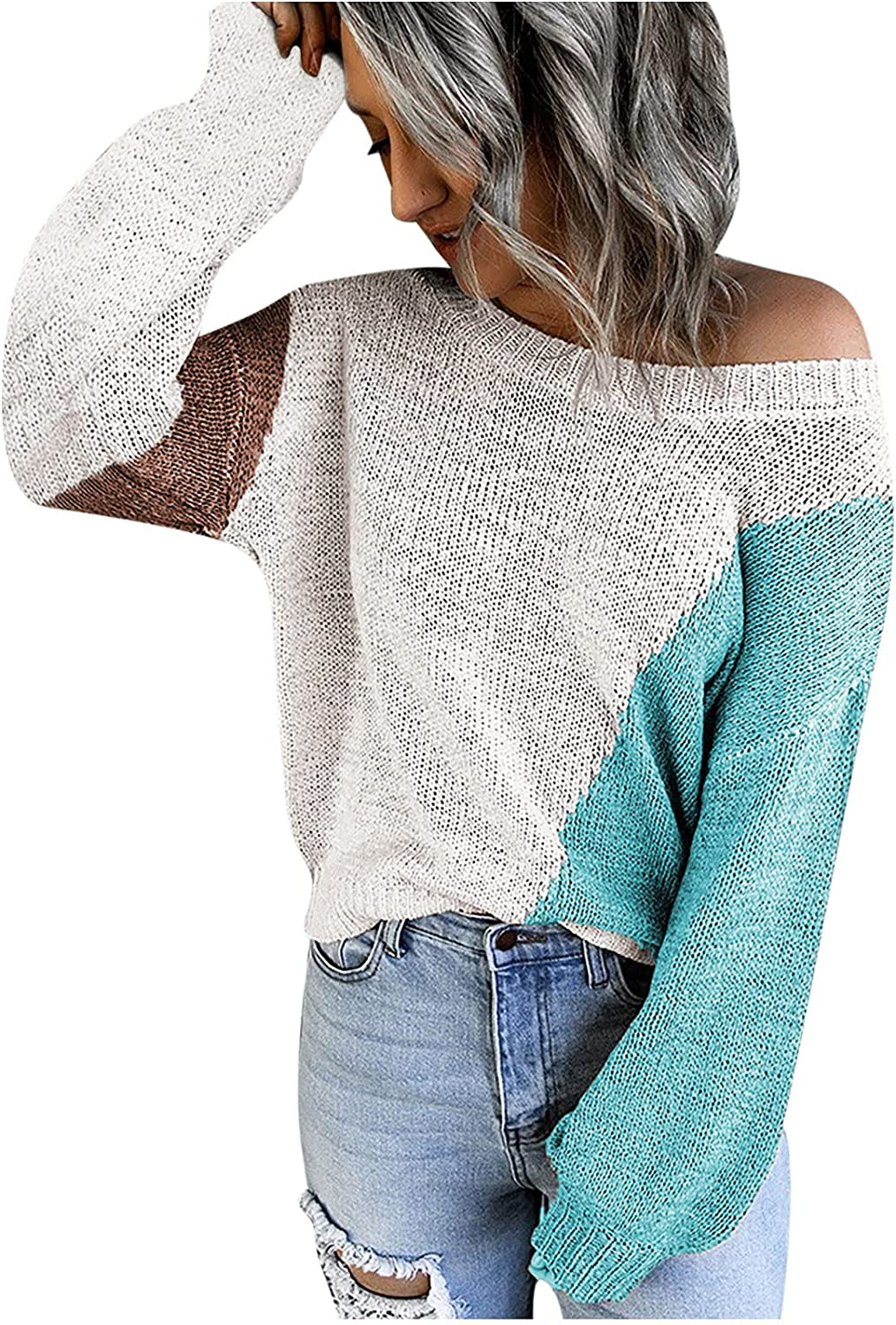 Womens Plus Size Knitted Color Block Hoodies Sweater Sexy Off Shoulder Long Sleeve Casual Loose Pullovers Tops