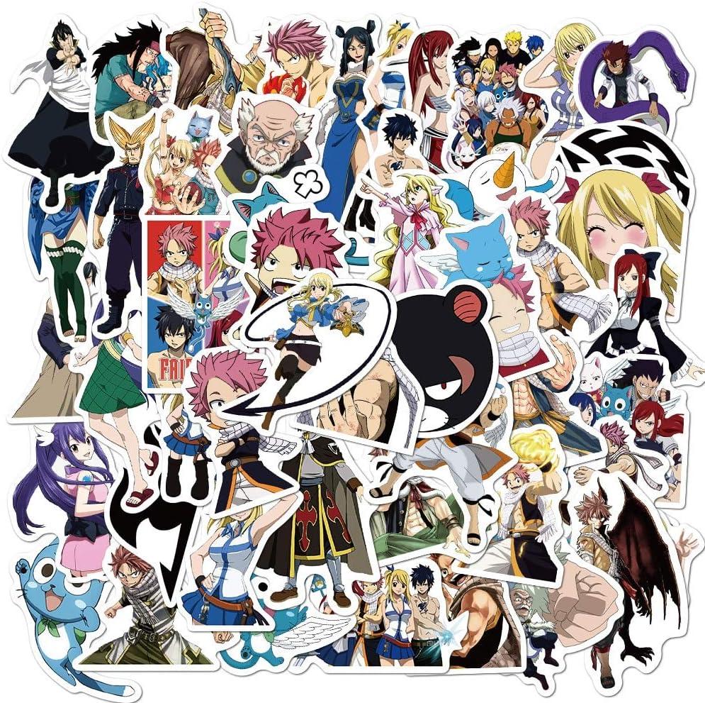 WUWEI Anime Genie Tail Doodle Pegatina Equipaje de Viaje Guitarra móvil refrigerador portátil Impermeable Pegatina Fresca 50 Uds