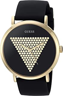 GUESS Iconic Studded Black and Gold-Tone Logo Silicone Watch. Color: Black (Model: U1161G2)