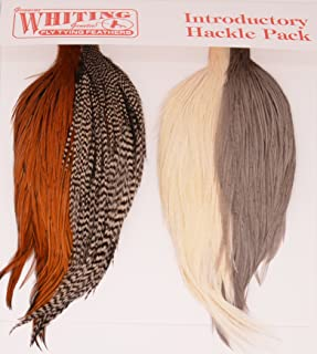 Whiting Introductory Hackle Pack - 4 Assorted 1/2 Capes or Saddles - Style 1/2 Capes