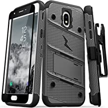ZIZO Bolt Series Samsung Galaxy Amp Prime 3 Case Military Grade Drop Tested with Tempered Glass Screen Protector Holster Metal Gray