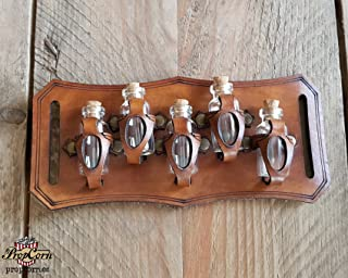 Belt Potion holder for 5 small bottles. Made of veg leather for adventurers, steampunk, alchemist, healers, cosplay or just to keep spices. (Brown)