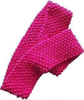 Bufanda circular tejida a mano de estambre color rosa neón (fucsia). Pieza única