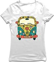 lepni.me Camiseta Mujer Años 60 70 Hippie Van, Flores, Amor, símbolo de Paz Libertad
