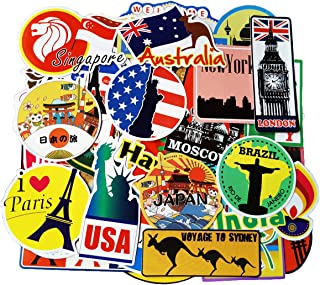 100pcs Travel Stickers, World Famous Tourism Country Regions Logo Sticker Pack, Vintage Vinyl Waterproof Sticker and Decal for Luggage, Laptop, Cars, Water Bottles, Kids, Men, Women, Tourist