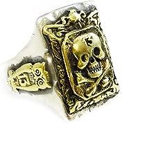 SILVERLAND1 Vintage Biker Ring Mexico Mexican Skull Owl 13 Bones Silver 925