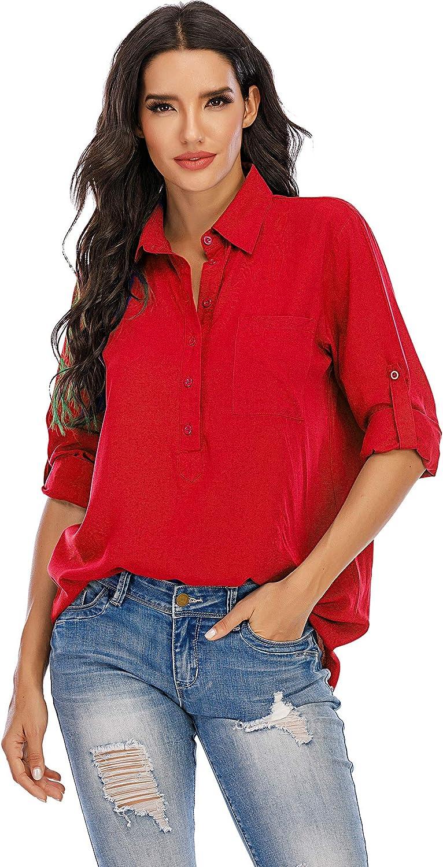 MANAIXUAN Women V Neck Button Roll Sleeve Shirt Casual Cotton Pocket Blouse/Tops