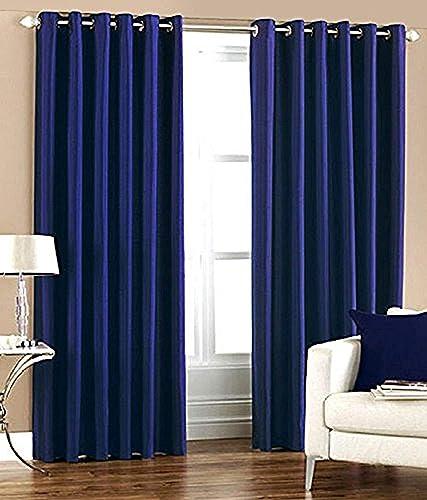Home Utsav Plain 1 Piece Eyelet Polyester Long Door Curtain 9ft Blue Blue Long Door 9 Feet 1 Pc