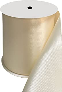 DUOQU 4 inch Wide Double Face Satin Ribbon 5 Yards Roll Multiple Colors Ivory