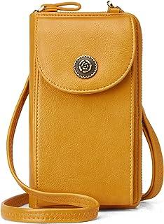 Damen Handytasche Umhängetasche Leder Geldbörse Multifunktion Beutel Portemonnaie mit Vielen Kartenfächern Verstellbar Abn...