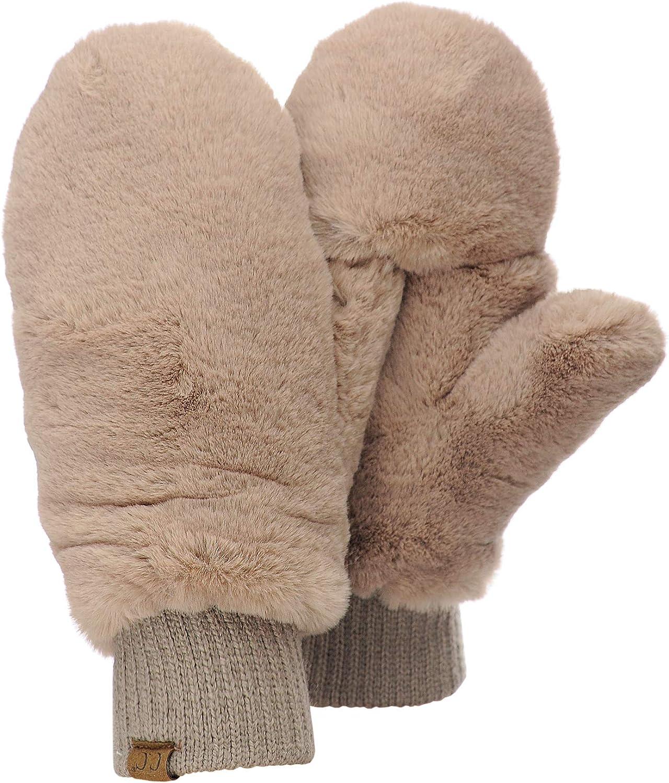 C.C Women's Faux Fur Wrist Length Fingerless Sherpa Lined Convertible Mittens Gloves