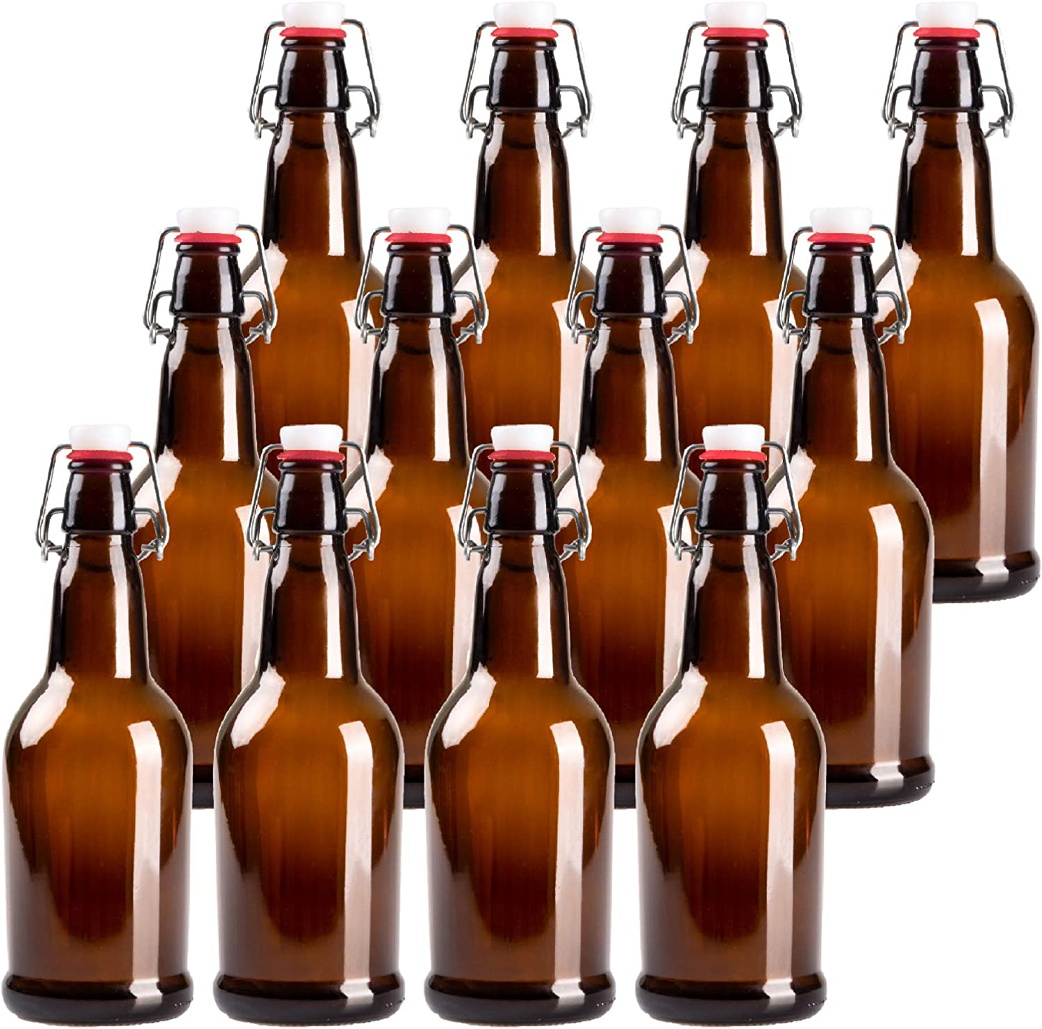 Excellent 16oz Amber Glass Beer Bottles for Home Fl Max 49% OFF Brewing - 12 Pack with