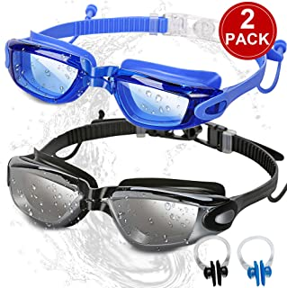 SBORTI Swim Goggles Swimming Goggles, Pack of 2 No Leaking Anti Fog UV Protection Swim Glasses Water Goggles Triathlon for Adult Men Women Youth Kids, with Mirrored & Waterproof