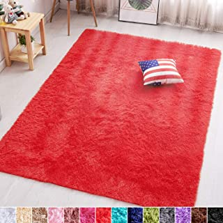 PAGISOFE Red Fluffy Shag Area Rugs for Bedroom 5x7, Soft...