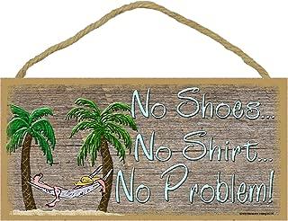 No Shoes No Shirt No Problem Palm Tree Beach Wall Decor Tiki Bar Hammock Sign 5