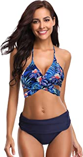 SHEKINI Women's Push-up Halter Bandage Ruched High Waisted Bottoms Bikini Swimsuits