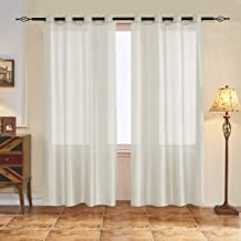 """subrtex Semi Sheer Curtain Blackout Voile Draperies Window Treatment for Living Room/Kitchen,Set of 2 Panels (Beige,52"""" Wx..."""