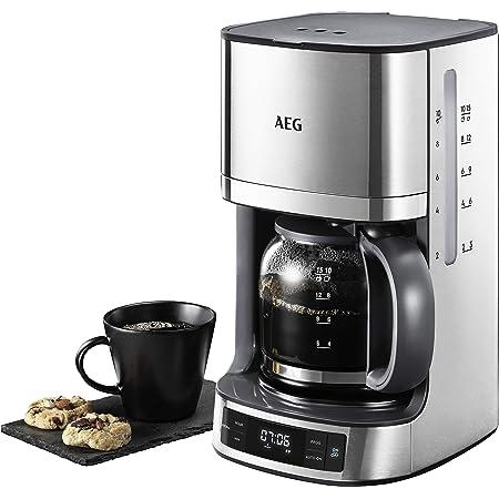 1000W Filterkaffeemaschine mit Timerfunktion Bonsenkitchen Edelstahl Programmierbare Kaffeemaschine mit 12 Tassen Glaskanne CM8903, 1.8L