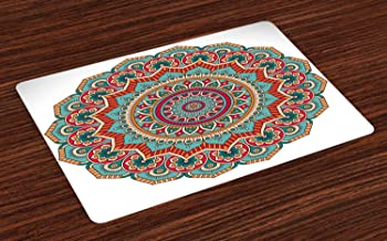 Lunarable Mandala Place Mats Set of 4, Traditional Circle Meditation Folk Culture Print, Washable Fabric Placemats for Dining Room Kitchen Table Decor, Turquoise Orange White Teal