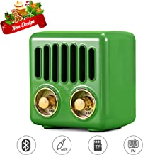 Vintage Radio, Retro Bluetooth Speaker, Greadio FM Radio with Bluetooth 4.2, Old Fashioned Classic Style, Good Bass Enhancement, Loud Volume, TF Card/AUX, Portable for Home, Office, Kitchen (Green)