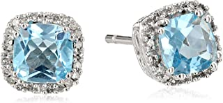 10kt White Gold 5mm Cushion Cut Created Gemstone and 1/10cttw Round Natural White Diamond Halo Stud Earrings