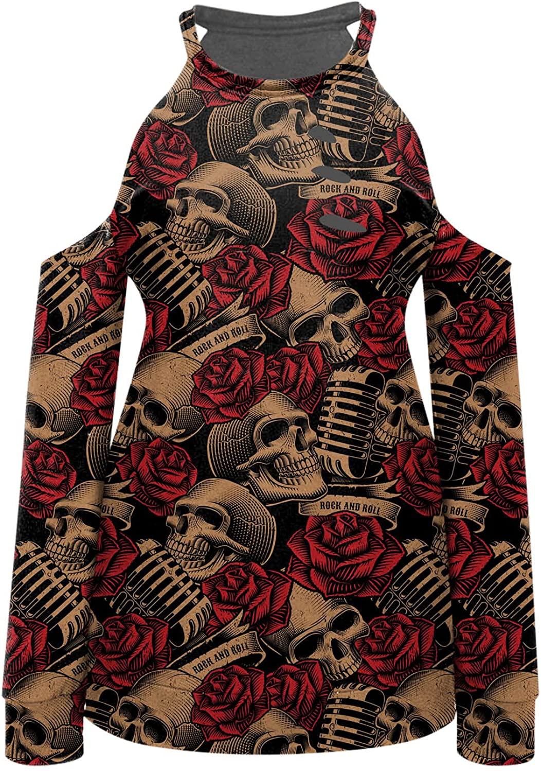 Halloween Blouse Women's Casual Loose Cold Shoulder Tops Halter Neck Hollowed Out Long Sleeve Skull Pumpkin Print Shirts