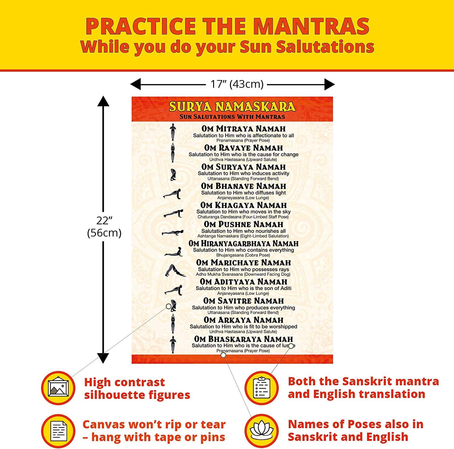 The Mindful Word Surya Namaskara Yoga Poster   Canvas Fabric   Sun  Salutations Poster with Yoga Poses and Sanskrit Mantras in a Chart   Looks  Great as ...