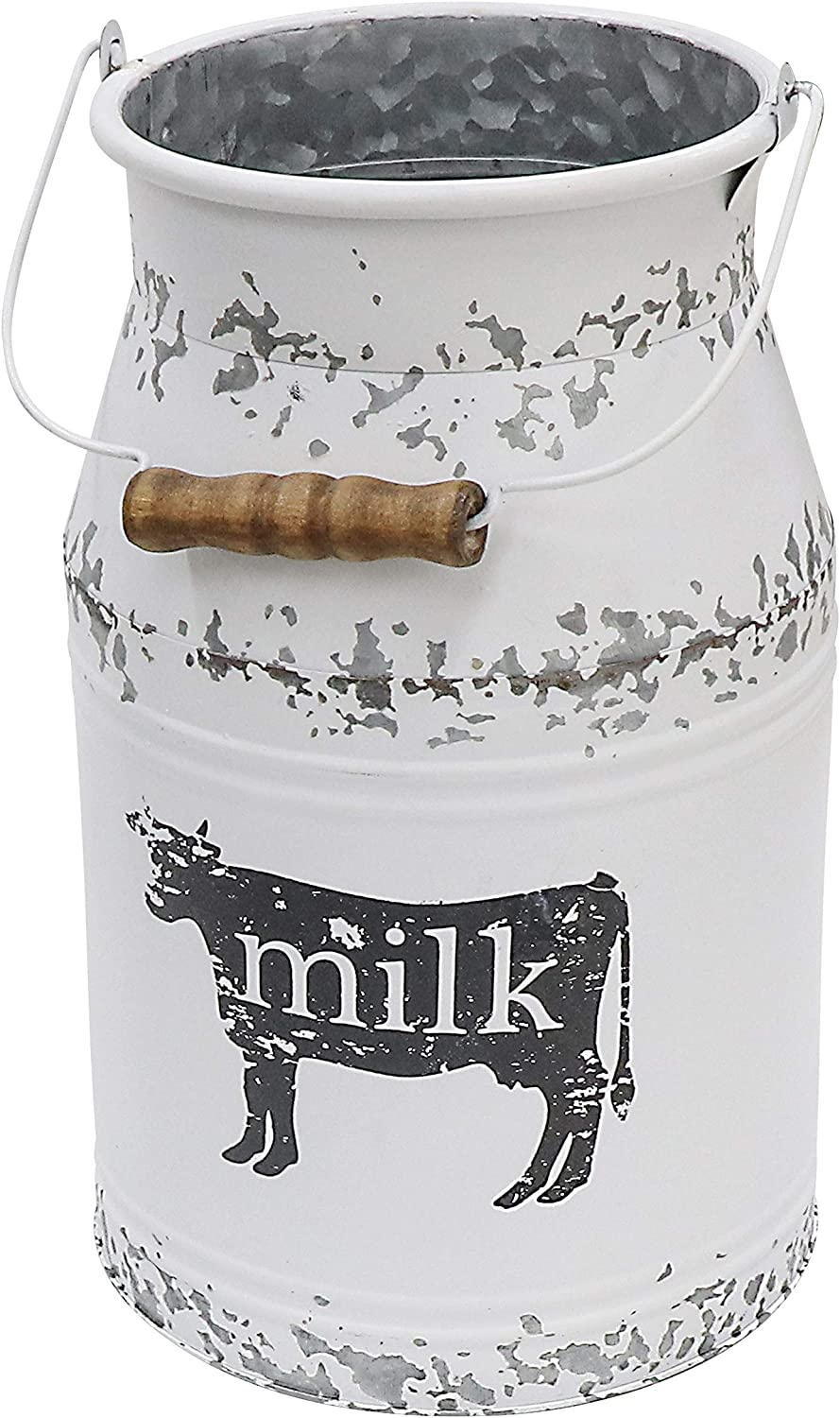 Fovasen New Free Shipping Metal Kansas City Mall Big Cow Galvanized Milk Wooden Ru Handle with Can