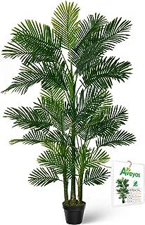 Aveyas 6ft Artificial Golden Cane Palm Silk Tree in Plastic Nursery Pot, Fake Tropical..