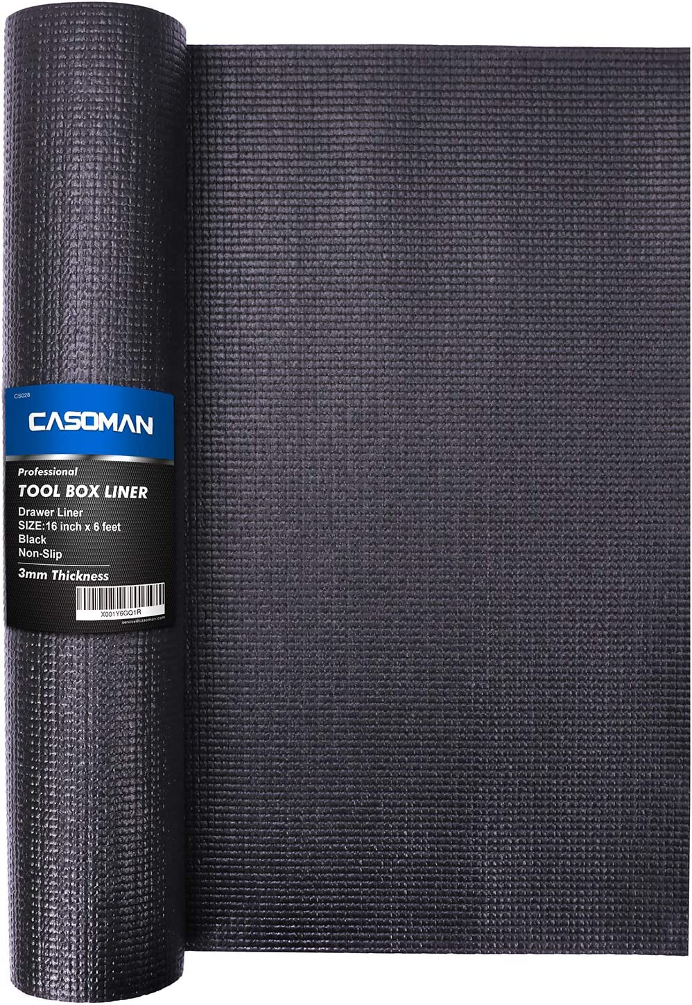 CASOMAN Professional Tool Box Liner and Drawer Liner,Easy Cut Non-Slip Foam Rubber Toolbox Drawer Liner Mat - Adjustable Thick Cabinet Liners,Black,16 Inch (Wide) x 6 Feet (Long)