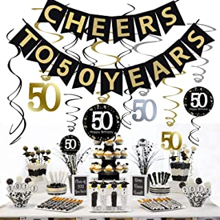 50th Birthday Decorations Kit - cheers 50, Gold Glitter Happy Birthday Banner and Sparkling Celebration 50