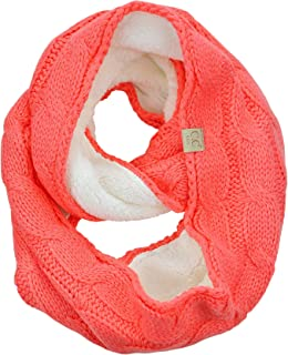 Children's Kids' Winter Cable Knit Sherpa Lined Warm Infinity Pullover Scarf
