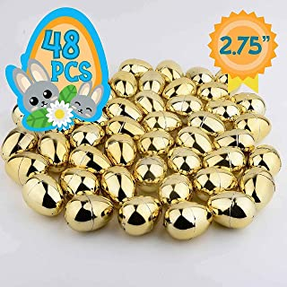 None Totem World 48 2.75-inch Gold Metallic Easter Eggs - Perfect Size for Filling and Hiding Treats for Small Children - Bulk Assortment - Durable Designs That Snap Shut and Hold Tight
