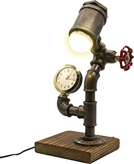 Industrial Steampunk LED Desk Lamp, Wood Base with Iron Piping Loft Style Vintage Antique Light, Retro Desk Lamp, Y-Nut
