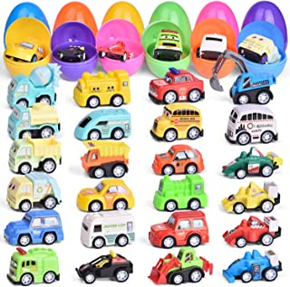 24 Pcs Easter Eggs Filled with Mini Pull Back Vehicles, Bright Colorful Easter Eggs Prefilled with Toy Cars for Easter Basket Stuffers, Easter Egg Fillers