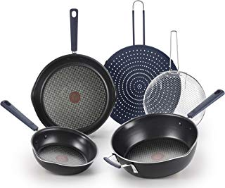 T-fal B210S574 All In One Stackable 5 Pcs Pan Set, Cookware Set, Titanium Nonstick, Multi-Functional, Black