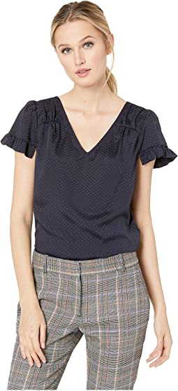 V-Neck Satin Jacquard Ruffled Top