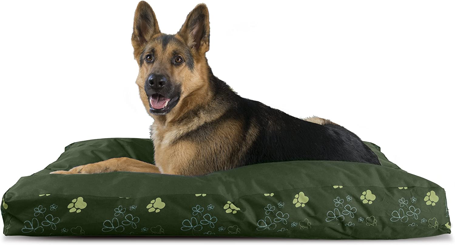 Furhaven Pet Dog Bed   Deluxe Indoor Outdoor Garden Pillow Pet Bed for Dogs & Cats, Jungle Green, Jumbo