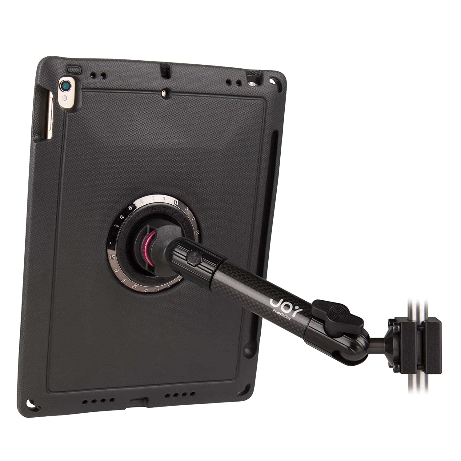 The Joy Factory MagConnect Carbon Fiber Car/Truck Headrest Mount with aXtion Edge M Rugged Case for iPad Pro 10.5