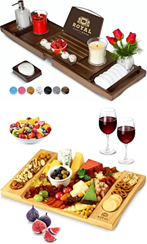 lowest Luxury Bathtub Caddy Tray (Brown) and Unique Bamboo Cheese Board by online sale discount Royal Craft Wood outlet sale