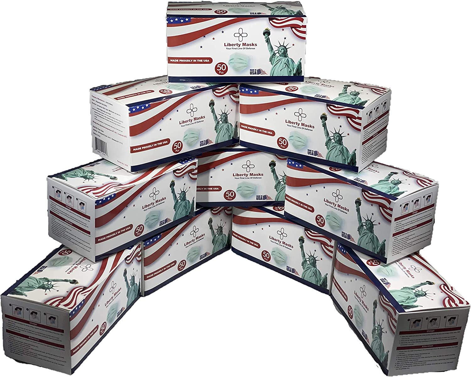 1000-Pack Liberty 格安 価格でご提供いたします Masks Made in Disposable Face USA 半額 3 Ply